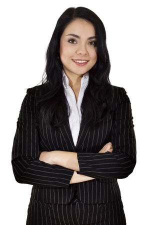 Stock image of businesswoman over white background