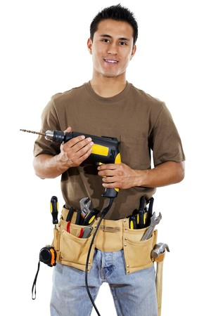 Photo for Stock image of handyman over white background - Royalty Free Image