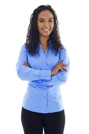 Stock image of confident woman standing over white background