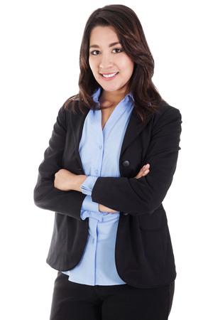 Stock image of smiling business woman isolated on white background