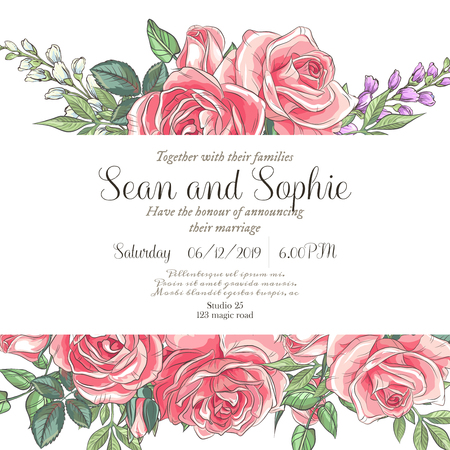 Illustration pour Vector delicate invitation with roses and bluebells for wedding, marriage, bridal, birthday, Valentine's day. Beautiful flower composition. Summer composition. - image libre de droit