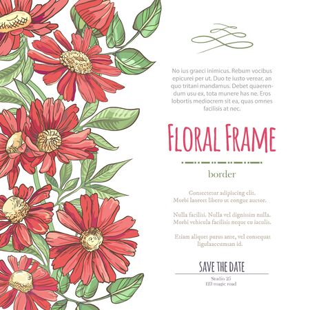 Illustration pour Vector delicate invitation with red chamomile for wedding, marriage, bridal, birthday, Valentine's day. Floral border with sketch colorful blossoms. Frame with hand drawn flowers - image libre de droit