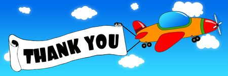 Cartoon aeroplane and banner with THANK YOU text on a blue sky background. Illustration concept.