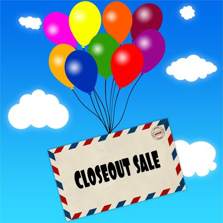 Envelope with CLOSEOUT SALE message attached to multicoloured balloons on blue sky and clouds background. Illustration