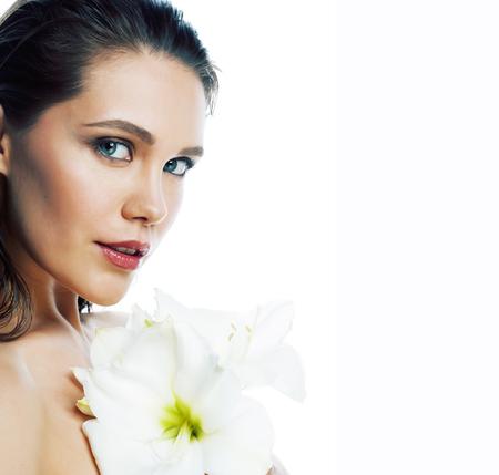 Photo pour young pretty woman with  Amarilis flower close up isolated on white - image libre de droit