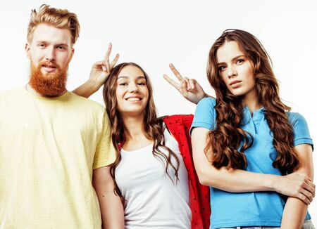Photo pour company of hipster guys, bearded red hair boy and girls students having fun together friends, diverse fashion style, lifestyle people concept isolated on white background - image libre de droit