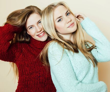 Photo for best friends teenage girls together having fun, posing emotional on white background, besties happy smiling, lifestyle people concept close up. making selfie - Royalty Free Image