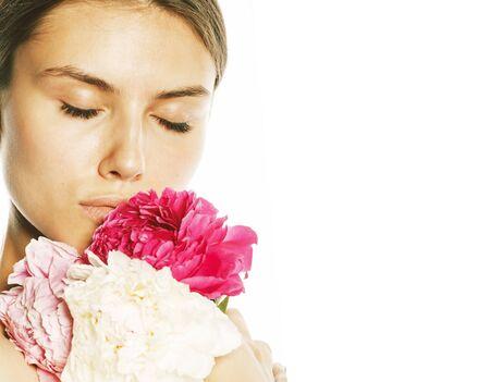 Photo pour young beauty woman with flower peony pink closeup makeup soft tender gentle look - image libre de droit