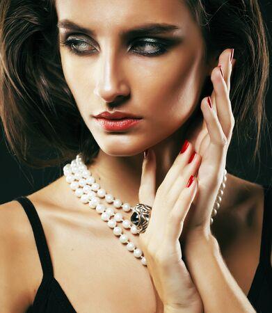 Foto de beauty rich woman with bright makeup wearing luxury jewellery on black background, fashion lady curly hairstyle - Imagen libre de derechos