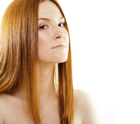 Photo pour beauty young redhead woman with red flying hair, funny ginger fresh spa girl isolated on white background - image libre de droit