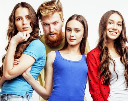 Photo for company of hipster guys, bearded red hair boy and girls students having fun together friends, diverse fashion style, lifestyle people concept isolated on white background - Royalty Free Image