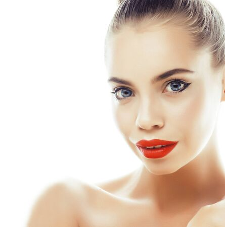Photo pour young pretty brunette real woman close up isolated on white background. Fancy fashion makeup, natural look spa - image libre de droit