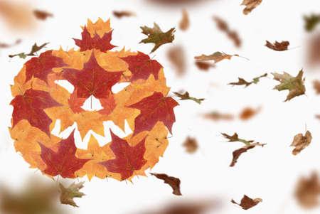 Foto de Autumn halloween and fall season holiday. jack o lantern pumpkin made of seasonal leaves. 3D illustration. - Imagen libre de derechos