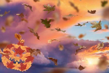 Foto de Autumn halloween and fall season holiday. jack o lantern pumpkin made of seasonal leaves. - Imagen libre de derechos