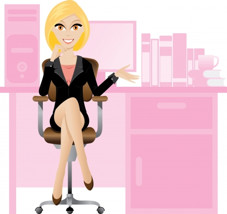 Illustration for Illustration of female secretary sitting on a chair. Office lifestyle. - Royalty Free Image
