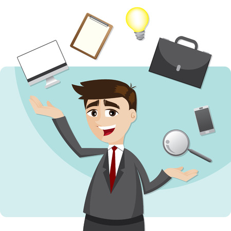 illustration of cartoon businessman juggling gadget