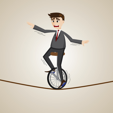 illustration of cartoon businessman riding unicycle on rope
