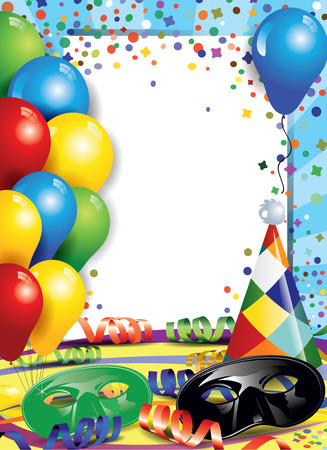 Carnival masks with confetti and balloons ideal for parties with space to insert your own text -transparency blending effects and gradient mesh