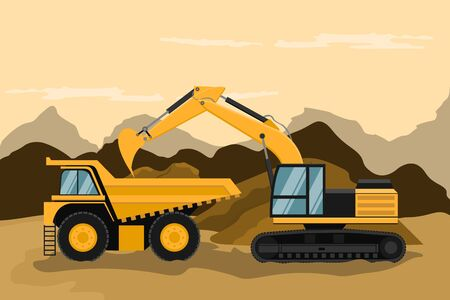 Illustration for Mining truck and caterpillar backhoe doing construction and mining work - Royalty Free Image
