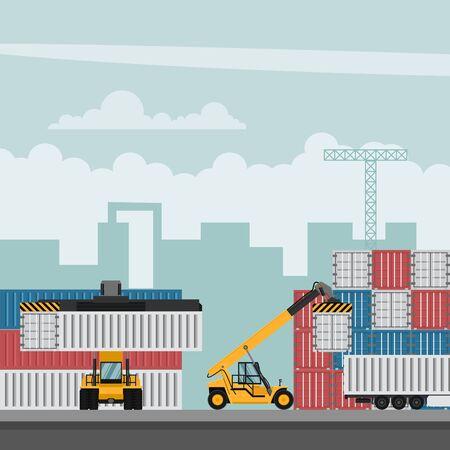 Illustration pour Container port terminal design for export. Container trucks working - image libre de droit