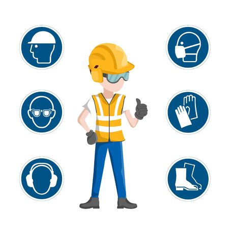 Illustration pour Industrial safety icons, worker with his personal protective equipment - image libre de droit