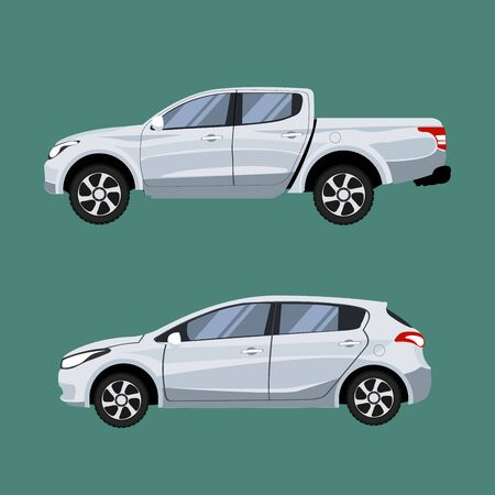 Ilustración de Set of vehicles pickup truck and Hatchback in side view. - Imagen libre de derechos