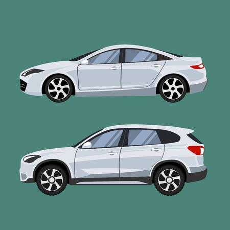 Ilustración de Set of vehicles suv and sedan in side view. - Imagen libre de derechos
