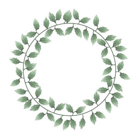 Illustration pour Watercolor of wreaths of leaves and flowers - image libre de droit