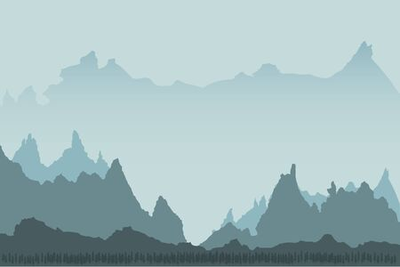 Illustration pour Landscape background of mountains with, forest - image libre de droit