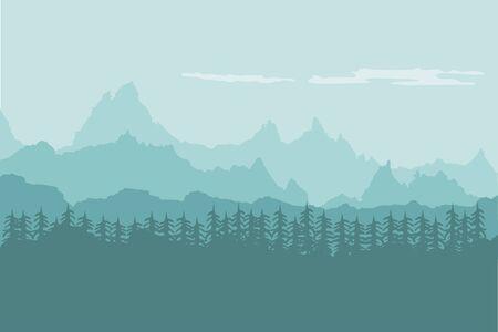 Illustration pour Landscape background of mountains with forest - image libre de droit