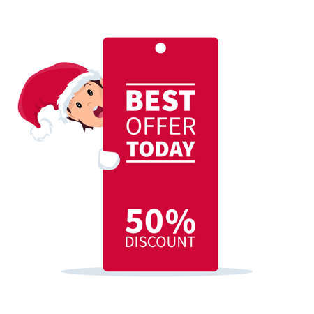 Ilustración de Santa claus elf with promotion sign and discount for christmas - Imagen libre de derechos