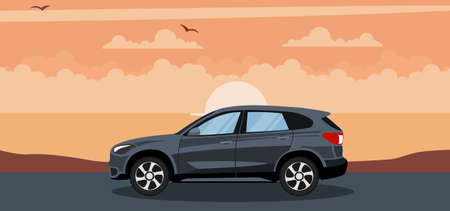 Ilustración de Suv car background in a sunset on the beach - Imagen libre de derechos
