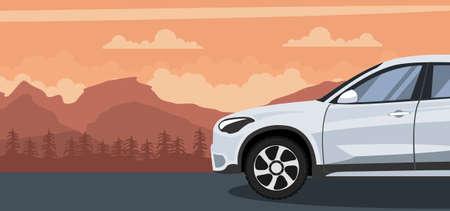 Ilustración de Truck background on a sunset in the mountains - Imagen libre de derechos