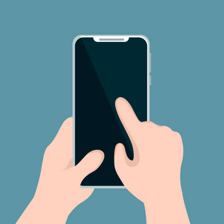 Illustration pour Person holding cellphone and pointing with his hand - image libre de droit