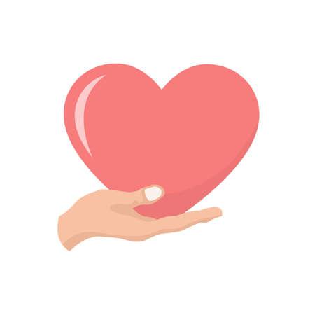 Ilustración de Heart valentines card in a hand - Imagen libre de derechos