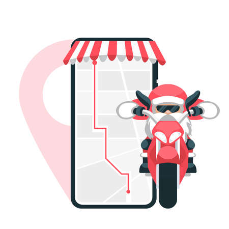 Ilustración de Design of santa claus making delivery on a motorcycle with location from the cell phone - Imagen libre de derechos