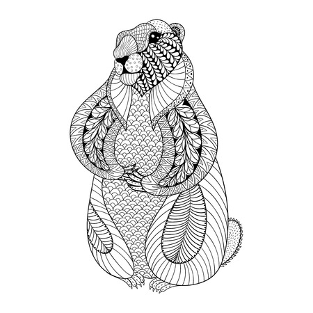 Illustration pour Hand drawn Groundhog for adult coloring pages in doodle, zentangle tribal style, Groundhog Day ethnic ornamental tattoo, patterned t-shirt or prints. Animal vector illustration. - image libre de droit