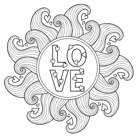 Illustration pour Hand drawn floral frame  for adult coloring pages, artistically ethnic ornamental patterned circle with romantic doodle elements of St. Valentine days, zentangle vector illustration, love tattoo, t-shirt or prints. - image libre de droit