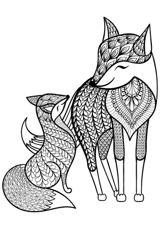 Hand drawn Fox with young child pattern for adult coloring page A4 size in doodle, zentangle style, ethnic ornamental patterned print, monochrome sketch. Floral printable vector illustration.