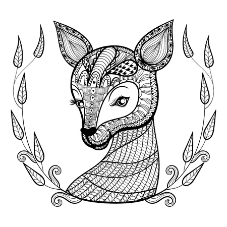 Hand drawn ethnic ornamental patterned cute deer's face in ...