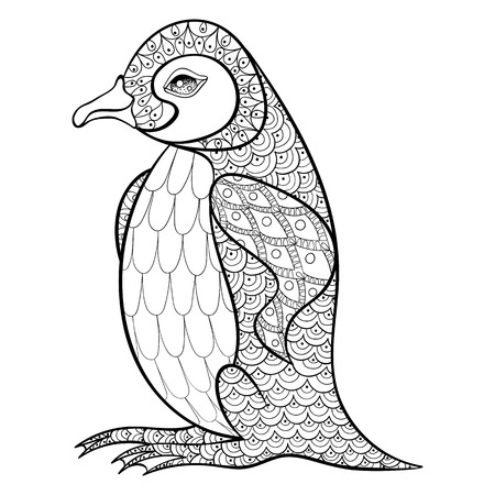 Illustration for Coloring pages with King Penguin, zentangle illustartion for adult anti stress Coloring books or tattoos with high details isolated on black background. Vector monochrome bird sketch. - Royalty Free Image