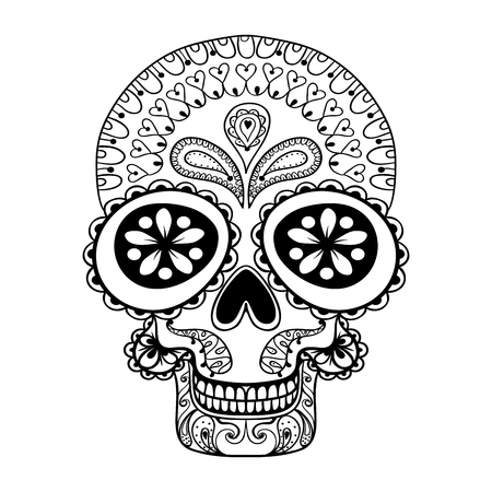 Illustration pour Hand drawn Skull in zentangle style, tribal totem for tattoo, adult Coloring Pagewith high details isolated on white background, vector  Dead Skull illustration, monochrome sketch. - image libre de droit