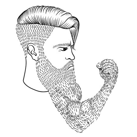Ilustración de The serious man with a long beard in the form of a hand and a fist - Imagen libre de derechos