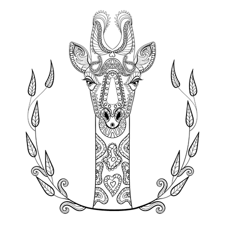 Illustration for Zentangle Giraffe head totem in frame for adult anti stress Coloring Page for art therapy, illustration in doodle style. Vector monochrome sketch with high details isolated on white background. - Royalty Free Image