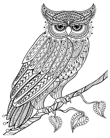 Ilustración de Hand drawn magic Owl sitting on branch for adult anti stress Coloring Page with high details isolated on white background, illustration in zentangle style. Vector monochrome sketch. Bird collection. - Imagen libre de derechos