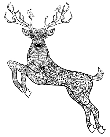 Ilustración de Hand drawn magic horned deer with birds for adult anti stress Coloring Page with high details isolated on white background, illustration in zentangle style. Vector monochrome sketch. Animal collection. - Imagen libre de derechos