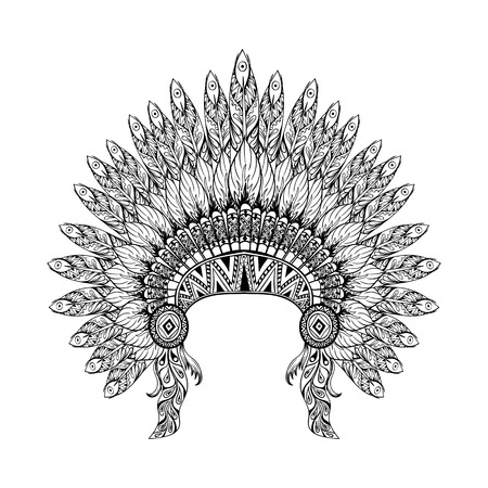 Illustration for Hand Drawn Feathered War bonnet in zentangle style, high datailed headdress for Indian Chief. American boho spirit. Hand drawn sketch vector illustration for tattoos. - Royalty Free Image