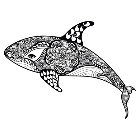 Illustration pour Zentangle stylized Sea Shark. Hand Drawn vector illustration isolated on white background. Sketch for tattoo design or makhenda. Sea art collection. - image libre de droit
