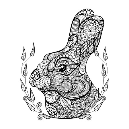 Zentangle stylized head of rabbit in wreath.  Hand Drawn doodle vector illustration. Sketch for tattoo or makhenda. Animal collection.のイラスト素材