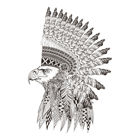 Illustration pour Zentangle stylized head of eagle in feathered war bannet. Hand Drawn doodle vector illustration isolated on white background. Sketch for tattoo or indian makhenda design. - image libre de droit